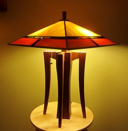 Four-Legged Lamp with Arts & Crafts Shade