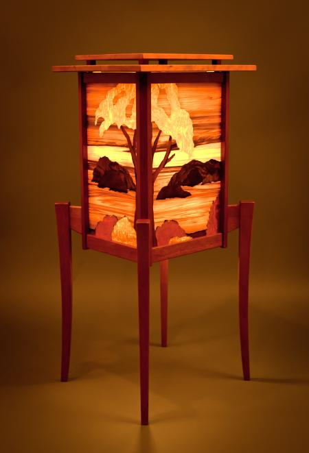 Salish Sea Marquetry Floor Lantern