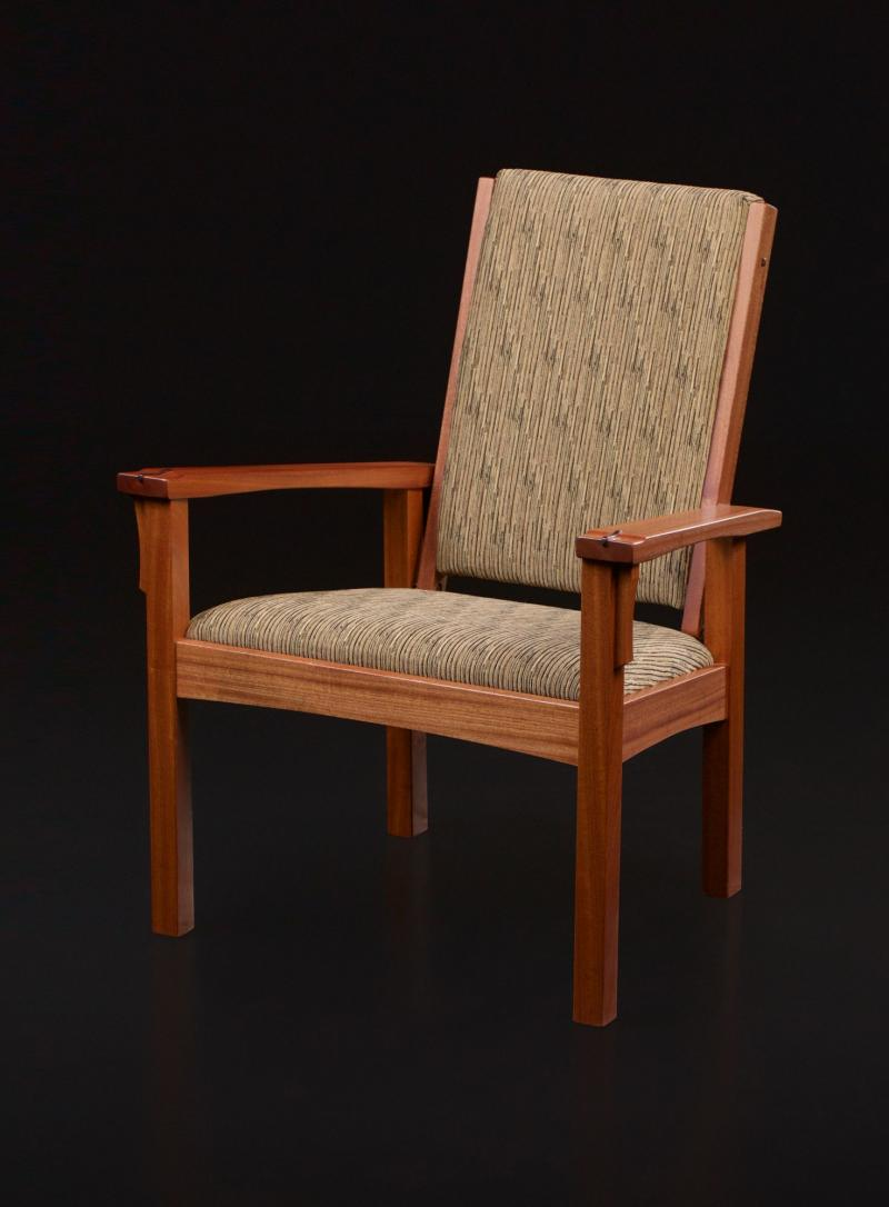 Adjustable backed chair with ottoman with curved rails in Sapele
