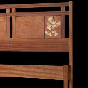 Bed headboard with inlaid marquetry