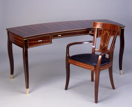 Rosewood Crescent Desk with Tablet Ming Chair
