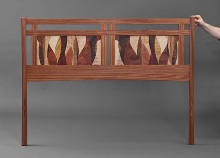 Curvature Marquetry Queen-sized Bed