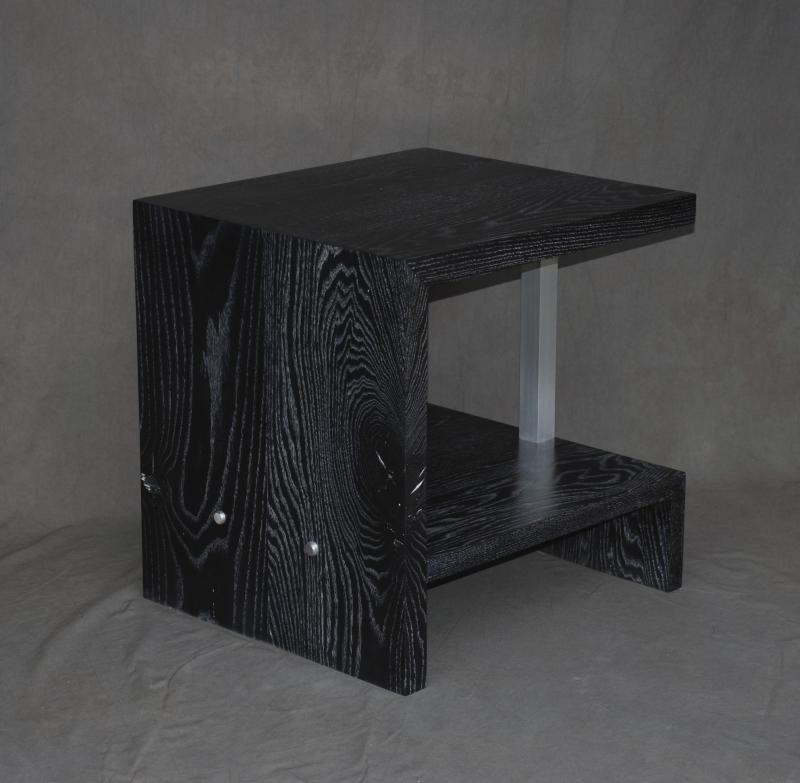 Table side table occasional table ceruse ash wood stain black furniture modern mid century modern aluminum metal