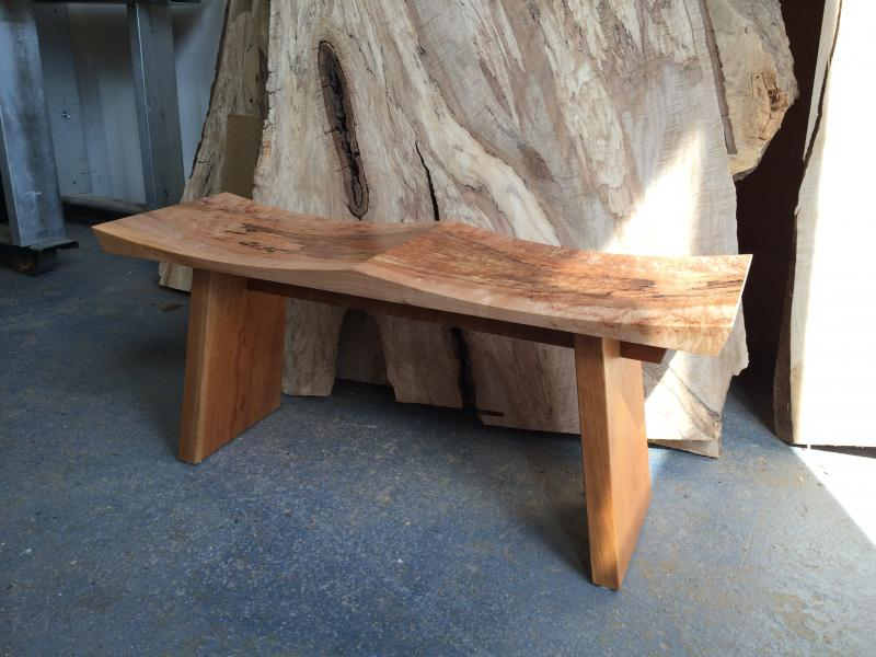 Spalted Wave Bench by Robert Spangler
