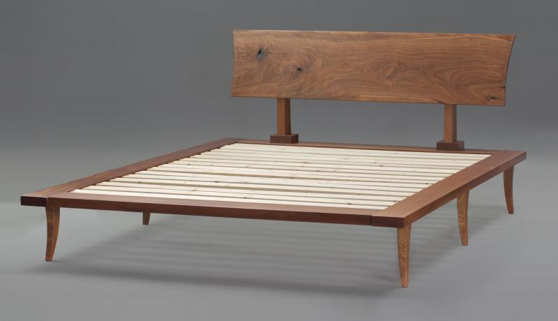 Platform Bed in Sapele with Walnut Headboard