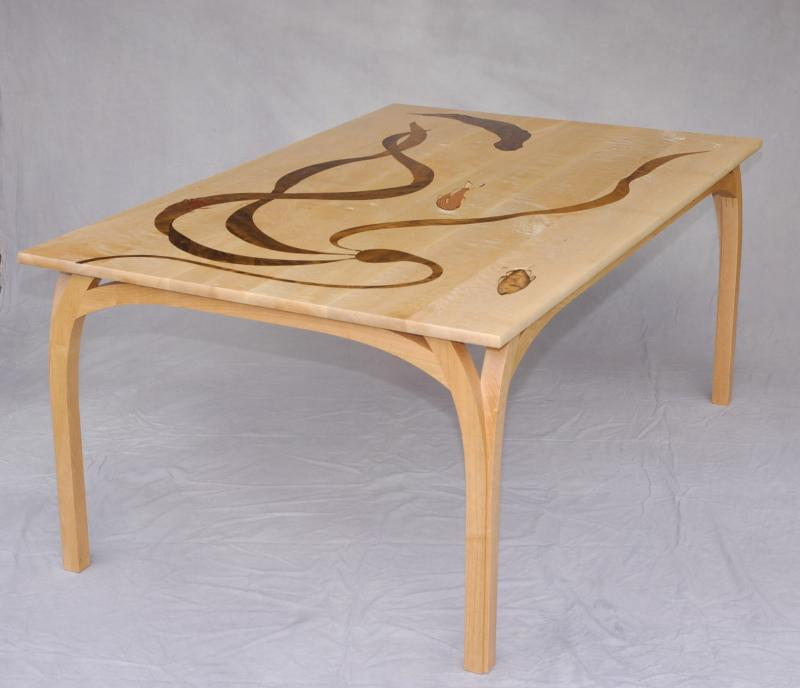 Lopez Sea Creature Dining Table with inlay of kelp and fish