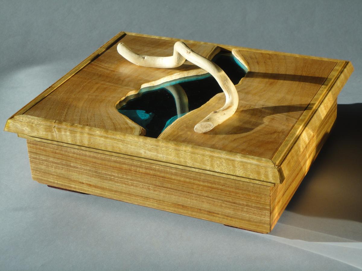 Beautiful blue glass inlayed Stream Box #4