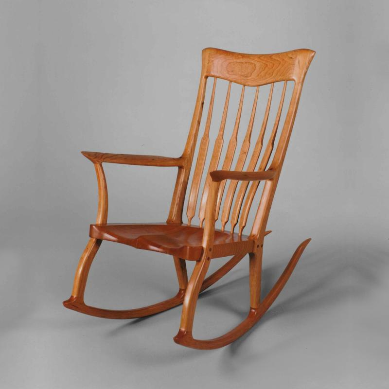 neiman wooden rocker cherry sculpted