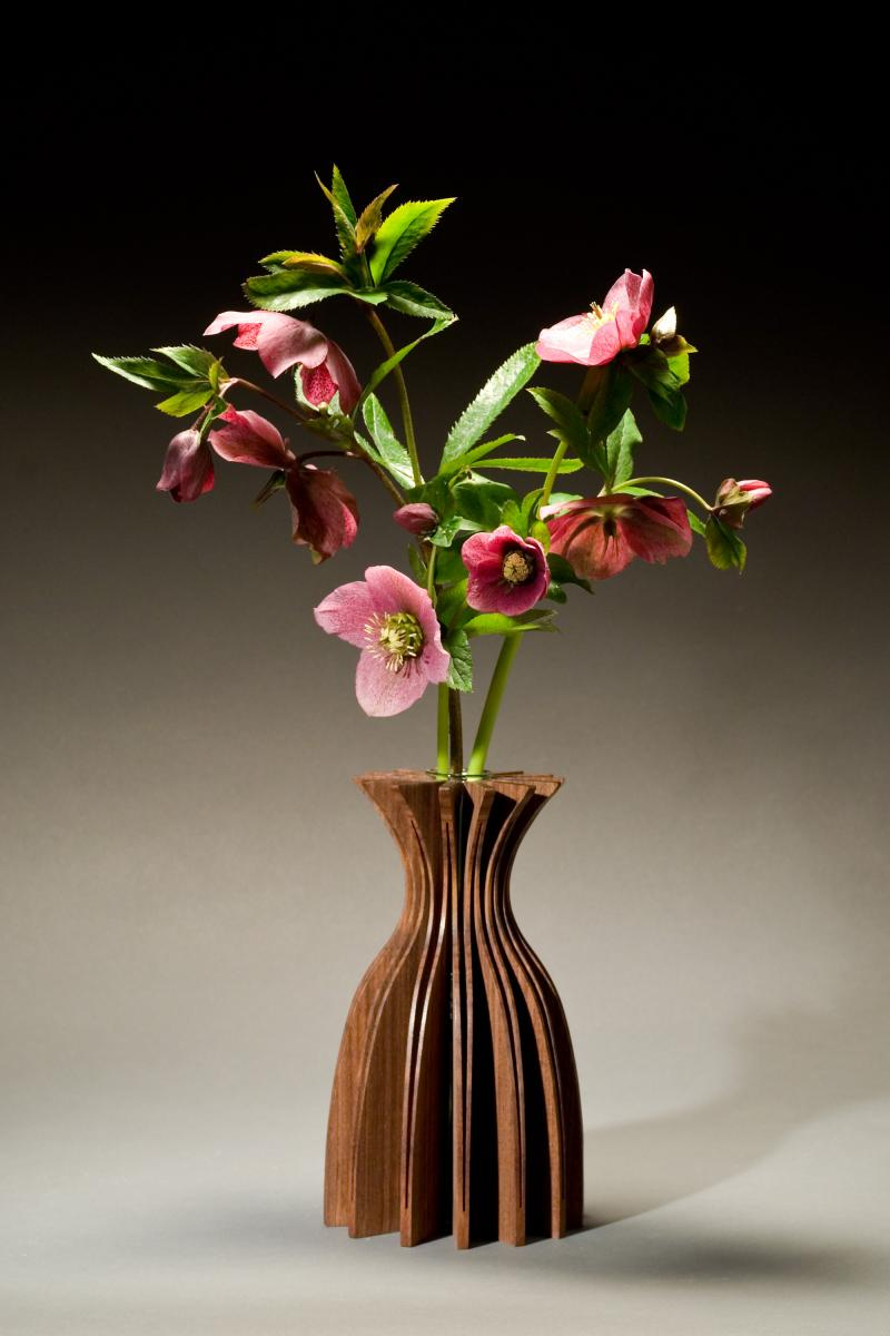 Jasmine Wooden Vase, Walnut
