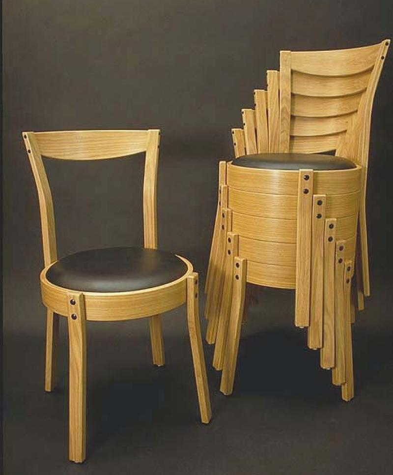 "Series 1000 Stacking Chairs, $600, 17"" × 17"" × 32.5"", Leather \ White Oak"