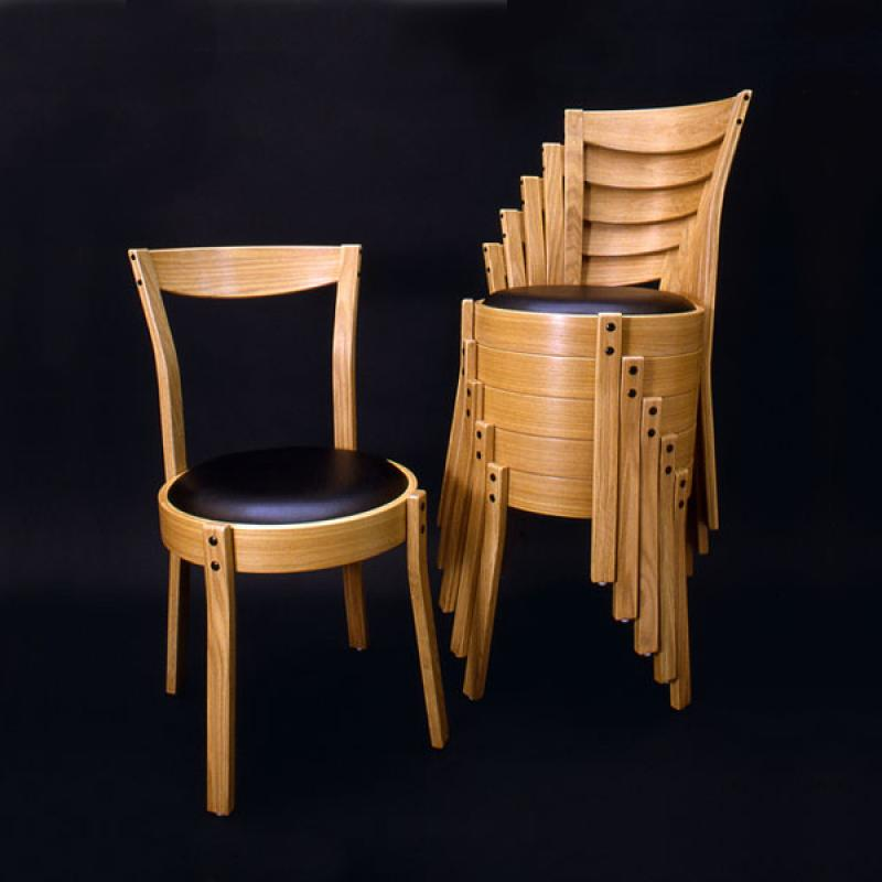 """Series 1000 Stacking Chairs, $600, 17"""" × 17"""" × 32.5"""", Leather \ White Oak"""