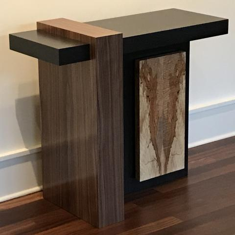 Modern hall table featuring walnut, black-dyed oak, and spalted maple