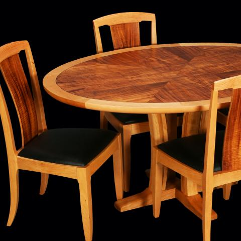 Craftsman table and chairs in cherry and black leather