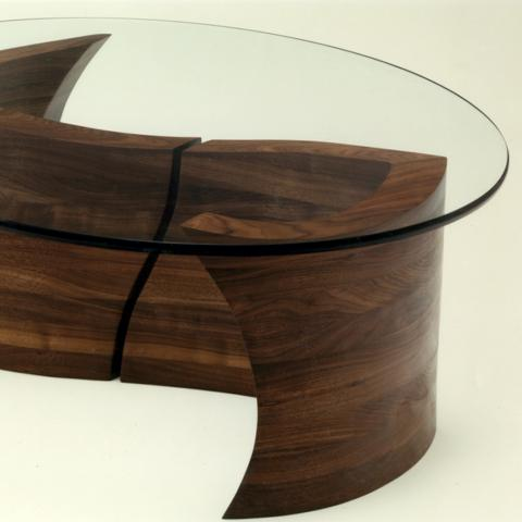 Glass topped modern coffee table