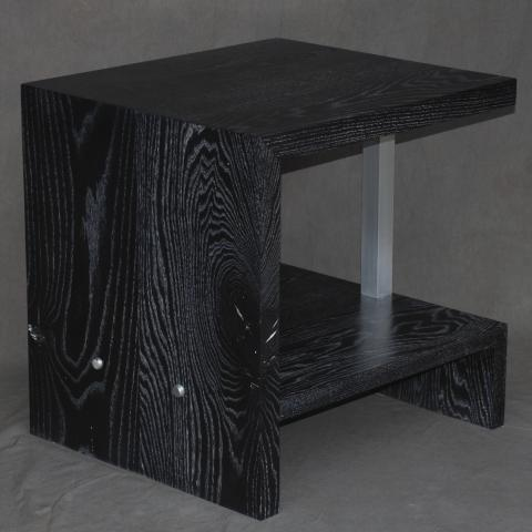 Black-dyed side table with metal support