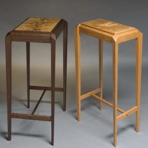 A pair of side table, one in walnut and one in cherry